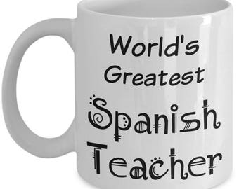 Spanish Teacher Mug Gifts - Teacher Appreciation Gifts for Retired Middle High School Teachers - Women Men - End of Year Gift - Christmas