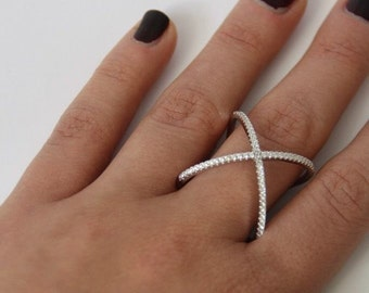Sterling silver X - Ring criss cross