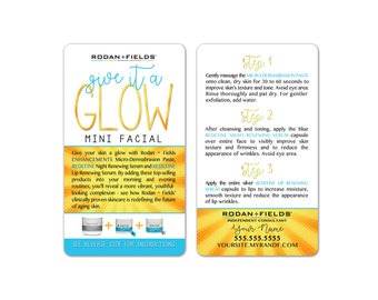 Rodan + Fields Give It A Glow Mini Facial Cards WHITE