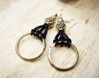 Ring earrings Circle earrings Hoop earrings Round dangle earrings Boho hoop earrings Leather Earrings Russian doll Earrings Statement Earrin