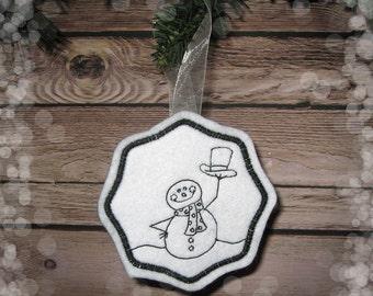Felt Snowman Ornament in Charcoal