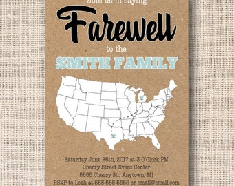 Printable Farewell Invitation, Moving Card, Farewell Invite, Farewell Card, Goodbye Card, Customized State Farewell, Leaving Card Party