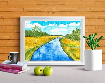 Signed *STREAM** Printable Wall Art, Instant Download, Printable Signed Watercolor