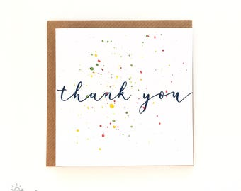 Pack of five assorted thank you cards - screen printed and hand-splattered!