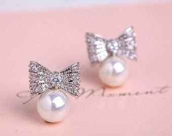 Emie Silver 925 real bow Pearl Stud crystals woman earrings
