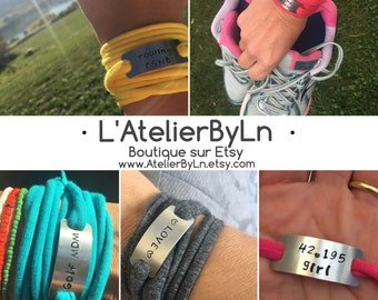 CordonByLn sports Addict, personalized jewelry stamped with your words and cord color of your choice