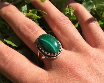 Malachite ring size us 7.75 (56 Europe)