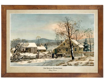 New England Winter Scene, Henry Durrie 1861; 24x36 inch print reproduced from a vintage painting