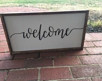Welcome wooden framed sign