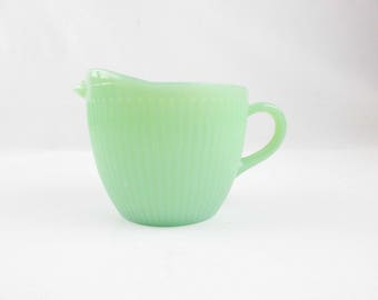 A 'Jane Ray' Creamer - Jadeite Green - Fire-King - Creamer - Add-on Fire-King Jadeite Accessory - Creamer Only