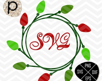 Christmas Light svg*Christmas Bulb Light SVG*Christmas Monogram Frame Svg*clipart,eps,dxf,png*Cutting Files*Cricut*Silhouette