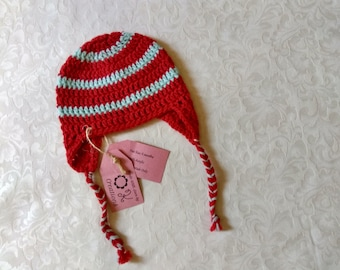 Red and light teal hand-crocheted baby earflap hat