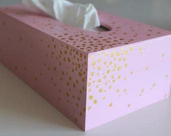 """Golden dots"" tissue box - tissue box - My Little Painted Boxes"