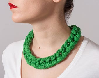 Textile necklace - statement necklace - braided necklace - green - cotton - sterling silver