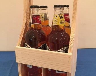 Beer wooden carry crate. Wooden beer crate. Beer tote. Beer holder. Beer Caddy. Beer crate. Beer Carrier. Unfinished wood beer carrier.
