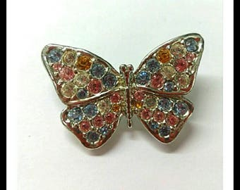 Vintage Rainbow AB Rhinestone Butterfly Brooch, Aurora Borealis Brooch, Sparkly Jewelry, Accessories, Boutique