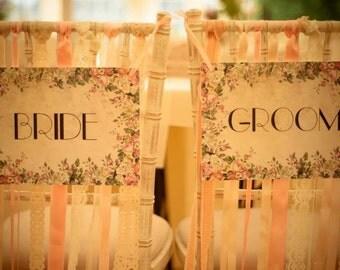Romantic Vintage Floral Handmade Bride & Groom Chair Signs