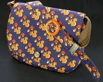 Handbag with squirrel mushrooms and nuts blue with gold