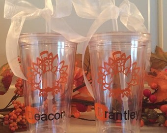 Personalized 16 oz clear tumbler with straw and lid - Thanksgiving / Turkey
