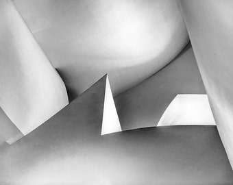 abstract shape, Guggenheim Bilbao, spain, fine art, black and white, graphic, art print