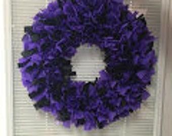Ravens Purple/Black 18 inch Wreath