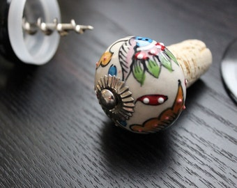 Multicolor Floral Wine Stopper, Wine Stopper, Wine Bottle Stopper, Bottle Stopper, Bottle Topper, Decorative Wine Stopper, Cork Stopper