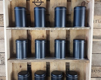 BBQ Spice rack shelf natural old wood + spice jars