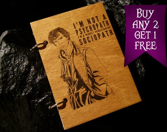 Sherlock wooden notebook / Sherlock notebook / sketchbook / diary / Sherlock journal / travelbook / Sherlock gift