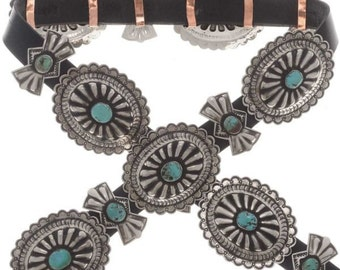 Silver Turquoise Concho Belt Navajo Made Santa Fe Finish