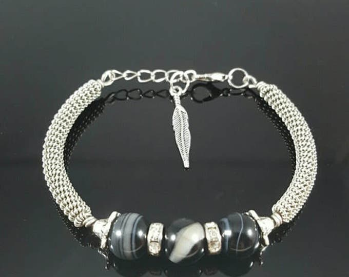 Black Agate Handmade Wire Wrapped Bracelet
