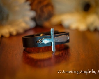 Metal Cross leather cuff