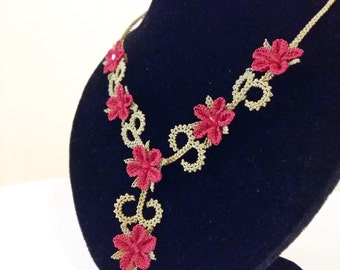 Needle Lace Turkish Oya Necklace with Red Flowers Perfect Gift For Her Made from 100% Silk Lace