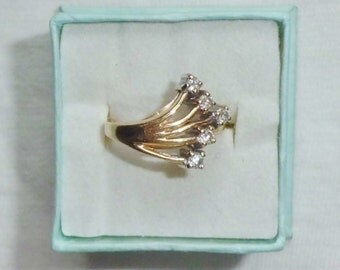 Estate 14K Yellow Gold Vintage Genuine Diamond Ring sz 5.5 Cocktail Dinner Ring 3.9g 5-finger Hand Marked 14 k kt 14kt Statement Unique