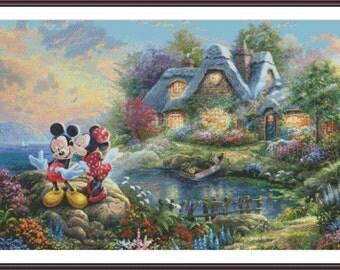 Disney Cross Stitch   Large Cross Stitch Pattern   Mickey Minnie   Cottage Cross Stitch   Kids Cross Stitch   Cute Cross Stitch   PDF