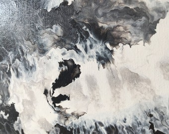 Black and white abstract art on canvas - ORIGINAL