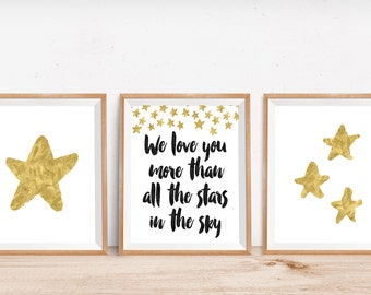 Gold Star Wall Art Set of 3 I Love You More Than All the Stars in the Sky Nursery Decor