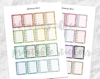 Glitter heart check box /  ECLP  / basic functional  printable planner stickers, pdf, jpg