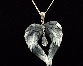 Jewelry pendant wings heart Polymer clay pendant heart White black wings heart pendant  Gift for woman