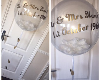 Personalised Bubble Balloons Filled With Feathers