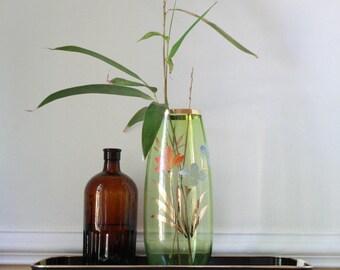 Vintage green glass vase with floral design and gold details