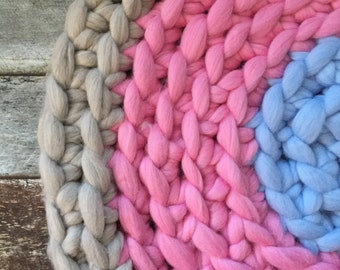 HALF OFF: Ready to Ship Hand Crocheted 100% Merino Wool Nursery Rug