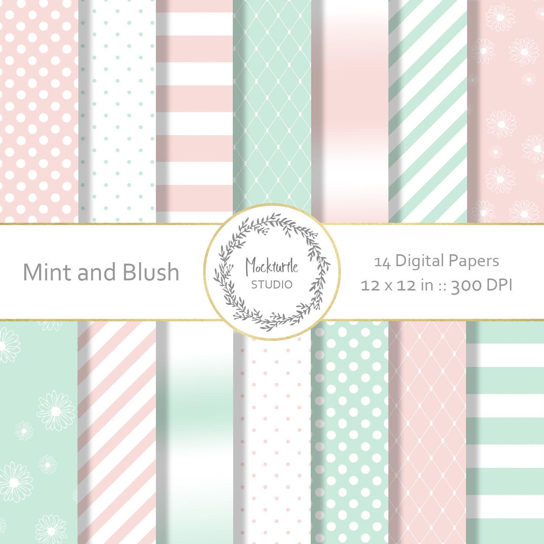 mint and blush digital paper mint and blush clip art mint. Black Bedroom Furniture Sets. Home Design Ideas