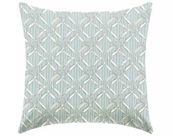 blue pillow, powder blue pillow - coastal pillow - pillow cover only - cushion cover -ZIPPER CLOSURE