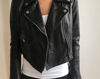 Leather Biker Jacket in Black Small