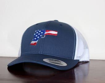 Unisex Custom Trucker Hat with a Patriotic American Themed Gun Design