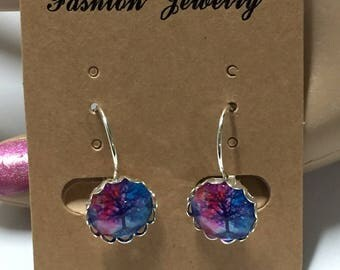Colorful tree dangle earrings