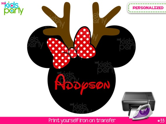 Christmas minnie mouse print yourself iron on transfer custom name il570xn solutioingenieria Gallery