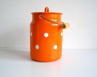Sale only today Vintage enamel milk cans  new Wooden handle Orange polka dot Enamel milk pail  cottage decor kitchen item Soviet vintage