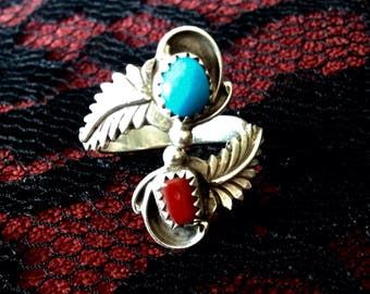 Vintage signed Harvey Turquoise and Coral Ring
