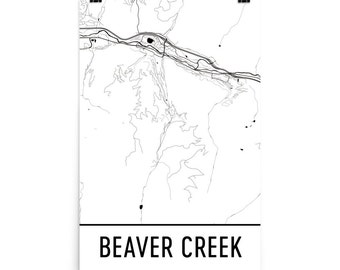 Beaver Creek Map, Beaver Creek Art, Beaver Creek Print, Beaver Creek CO Poster, Beaver Creek Wall Art, Map of Beaver, Beaver Creek Gift